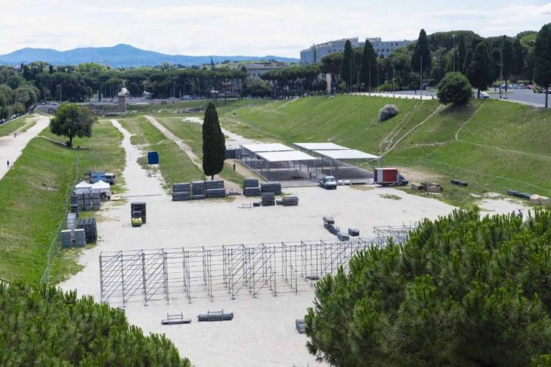 Circo Massimo, platea in costruzione